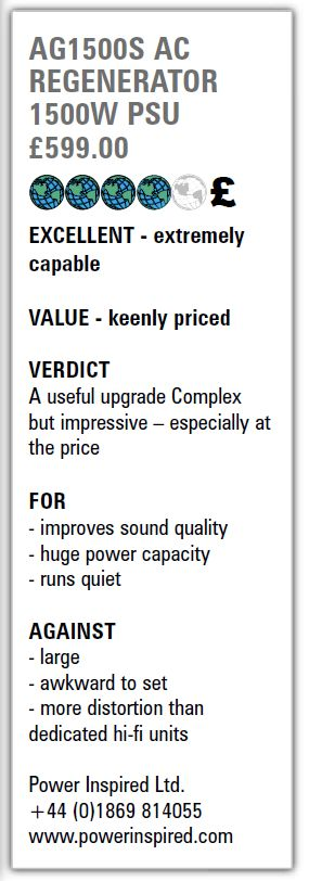 Hi-Fi World Summary of REview on the AG1500S ReGen