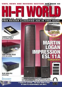 HiFi World Sep2018 MAgazine Cover - includes AG1500S ReGen review
